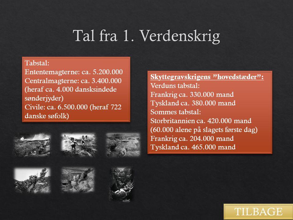 Tal fra 1. Verdenskrig TILBAGE Tabstal: Ententemagterne: ca. 5.200.000