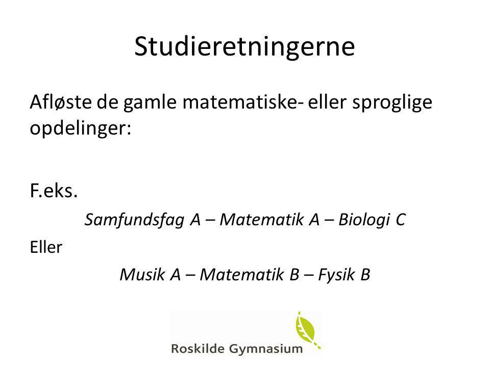 Studieretningerne Afløste de gamle matematiske- eller sproglige opdelinger: F.eks. Samfundsfag A – Matematik A – Biologi C.
