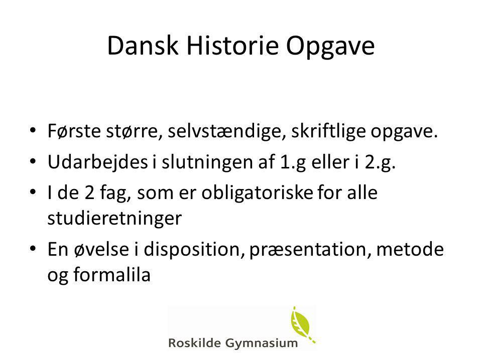Dansk Historie Opgave Første større, selvstændige, skriftlige opgave.