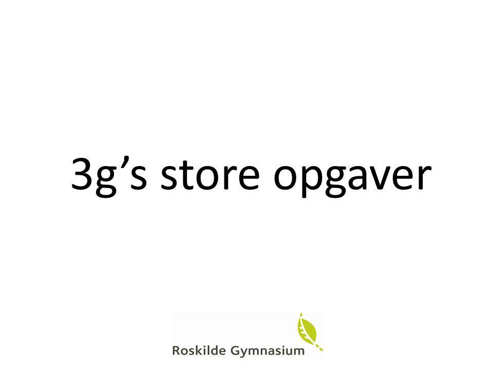 3g's store opgaver