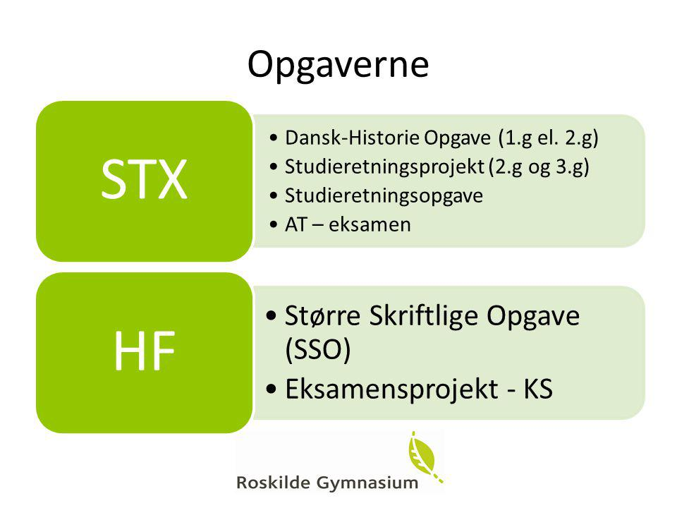Opgaverne Dansk-Historie Opgave (1.g el. 2.g)