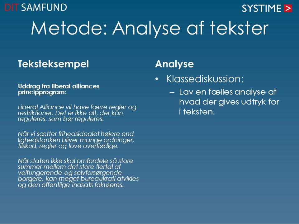 Metode: Analyse af tekster