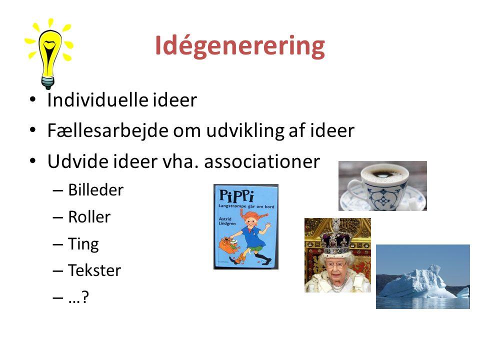 Idégenerering Individuelle ideer Fællesarbejde om udvikling af ideer