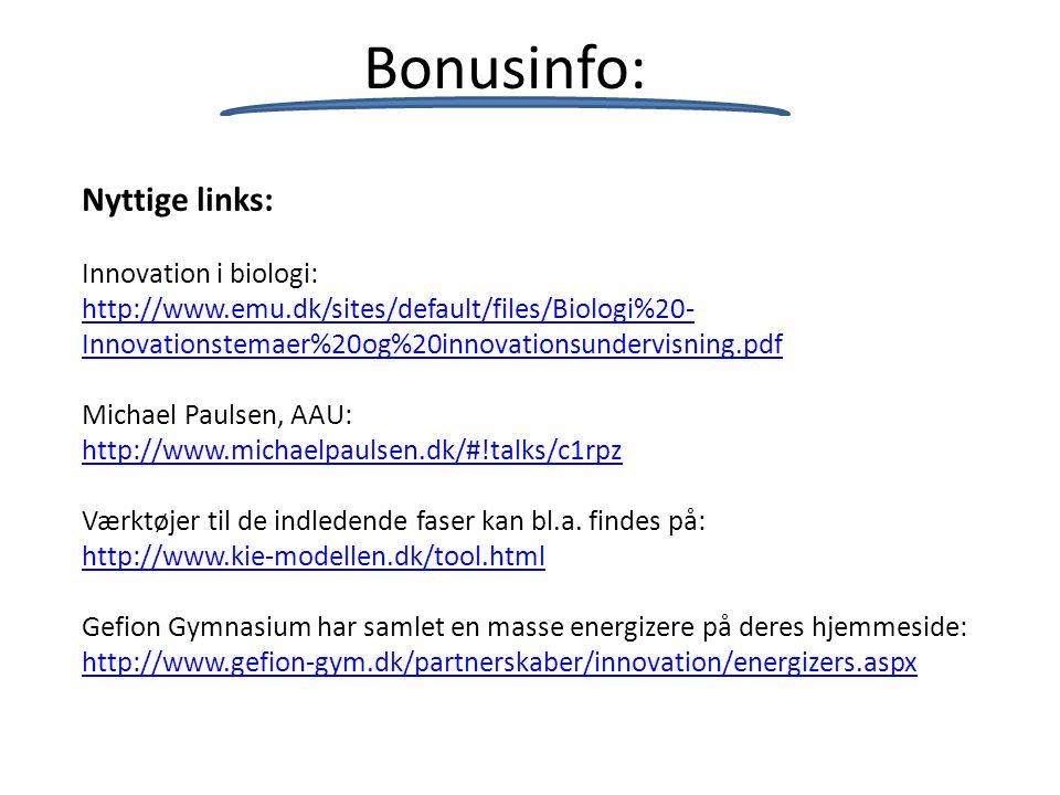 Bonusinfo: Nyttige links: Innovation i biologi: