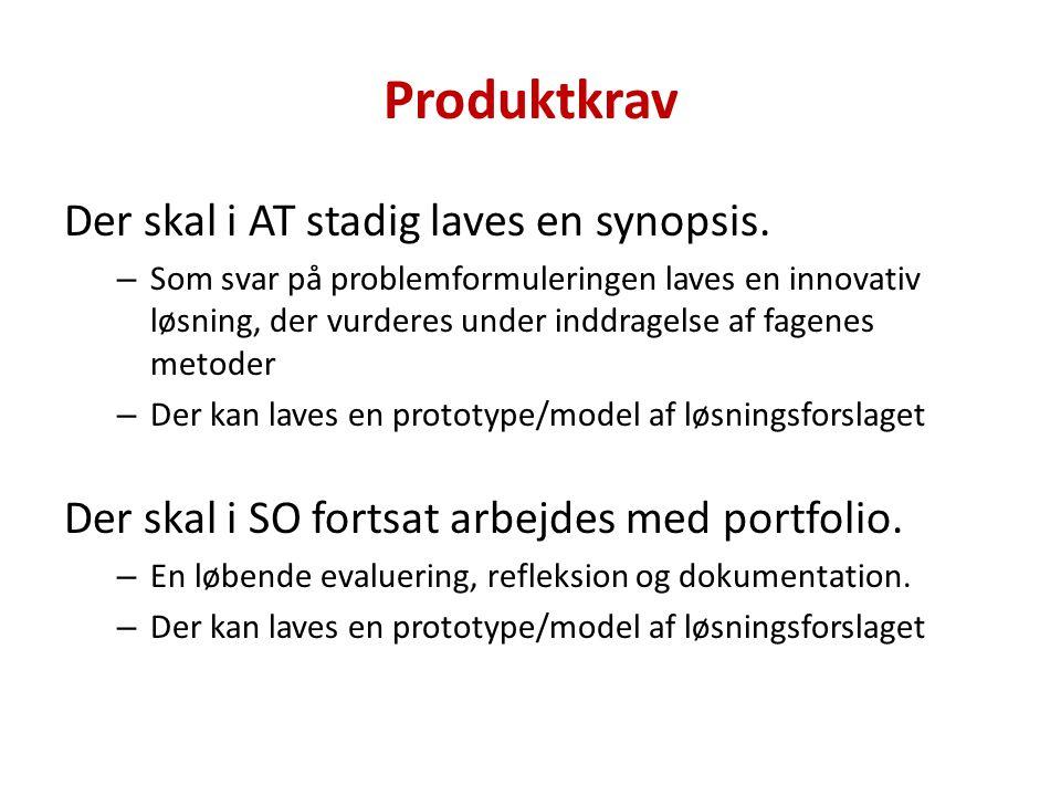 Produktkrav Der skal i AT stadig laves en synopsis.