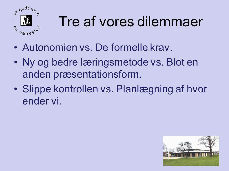 Tre af vores dilemmaer Autonomien vs. De formelle krav.