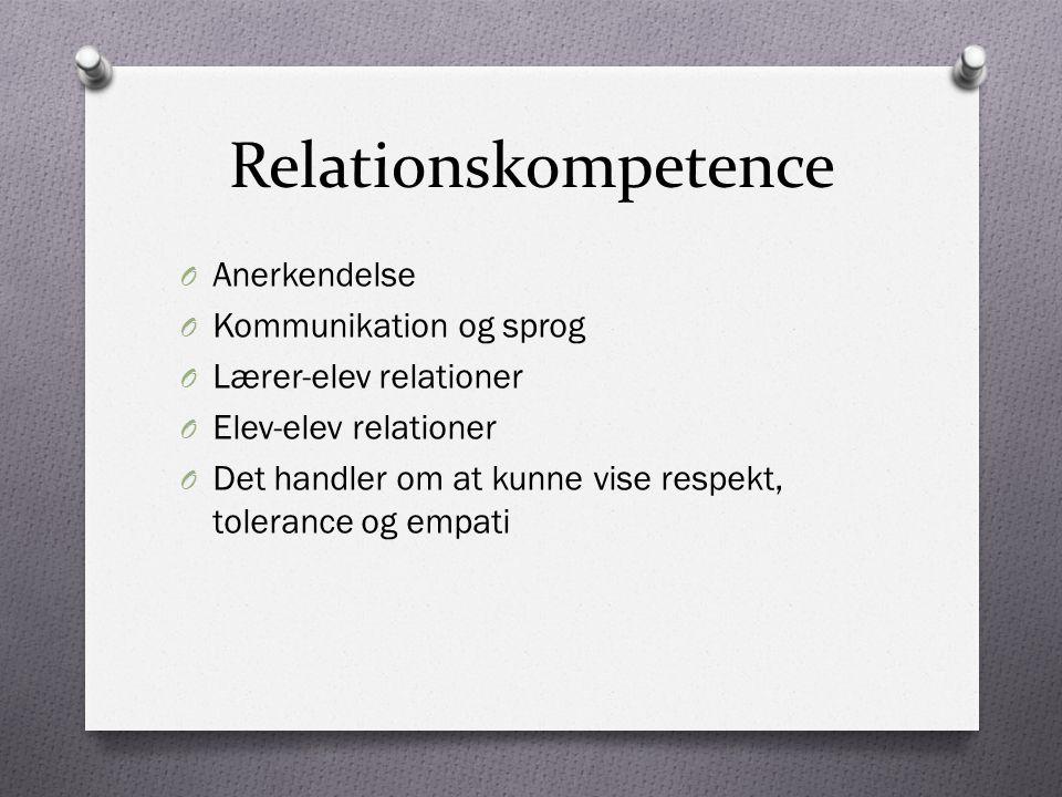 Relationskompetence Anerkendelse Kommunikation og sprog