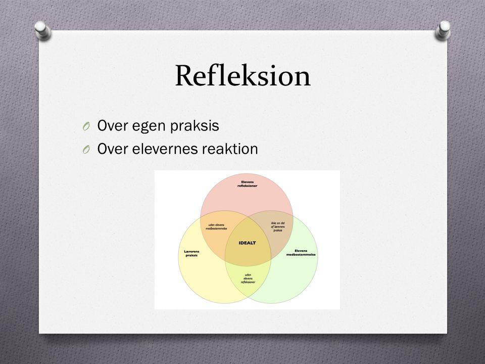Refleksion Over egen praksis Over elevernes reaktion
