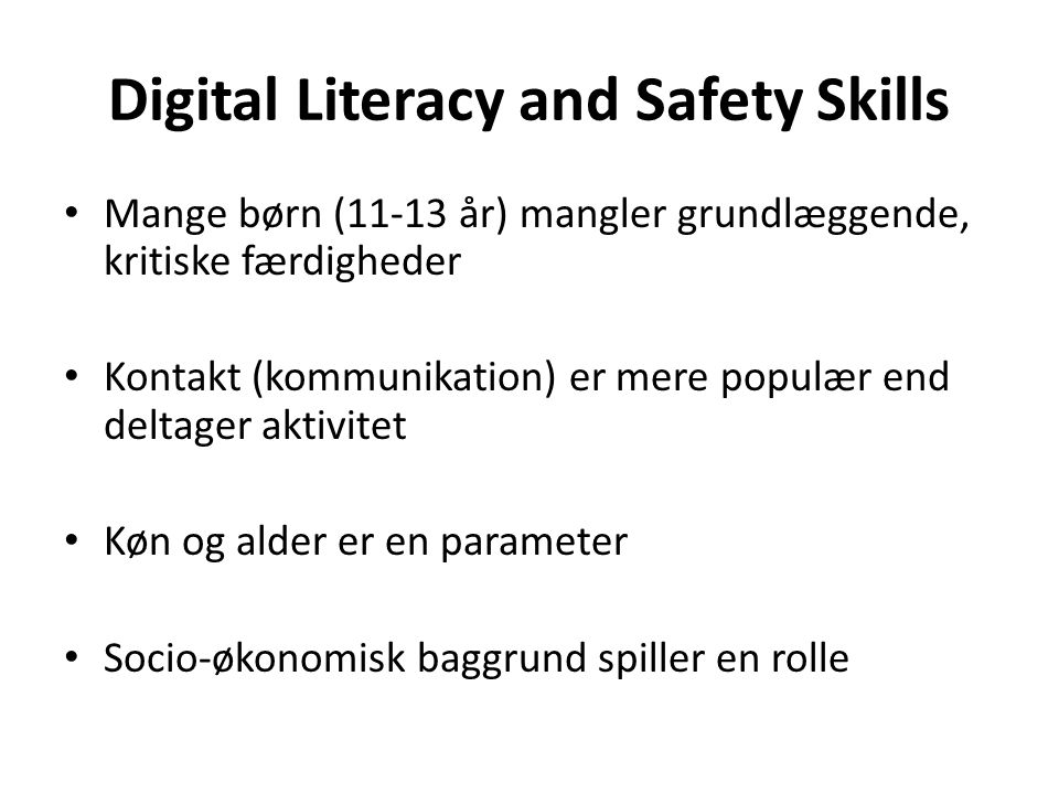 Digital Literacy and Safety Skills
