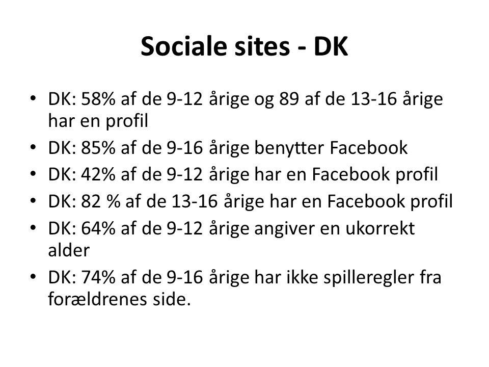 Sociale sites - DK DK: 58% af de 9-12 årige og 89 af de 13-16 årige har en profil. DK: 85% af de 9-16 årige benytter Facebook.