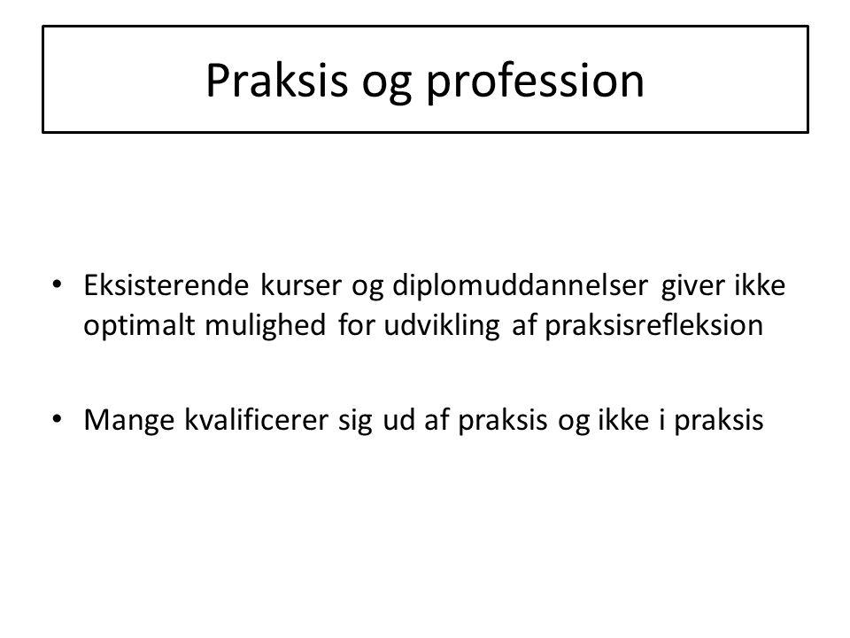 Praksis og profession Eksisterende kurser og diplomuddannelser giver ikke optimalt mulighed for udvikling af praksisrefleksion.
