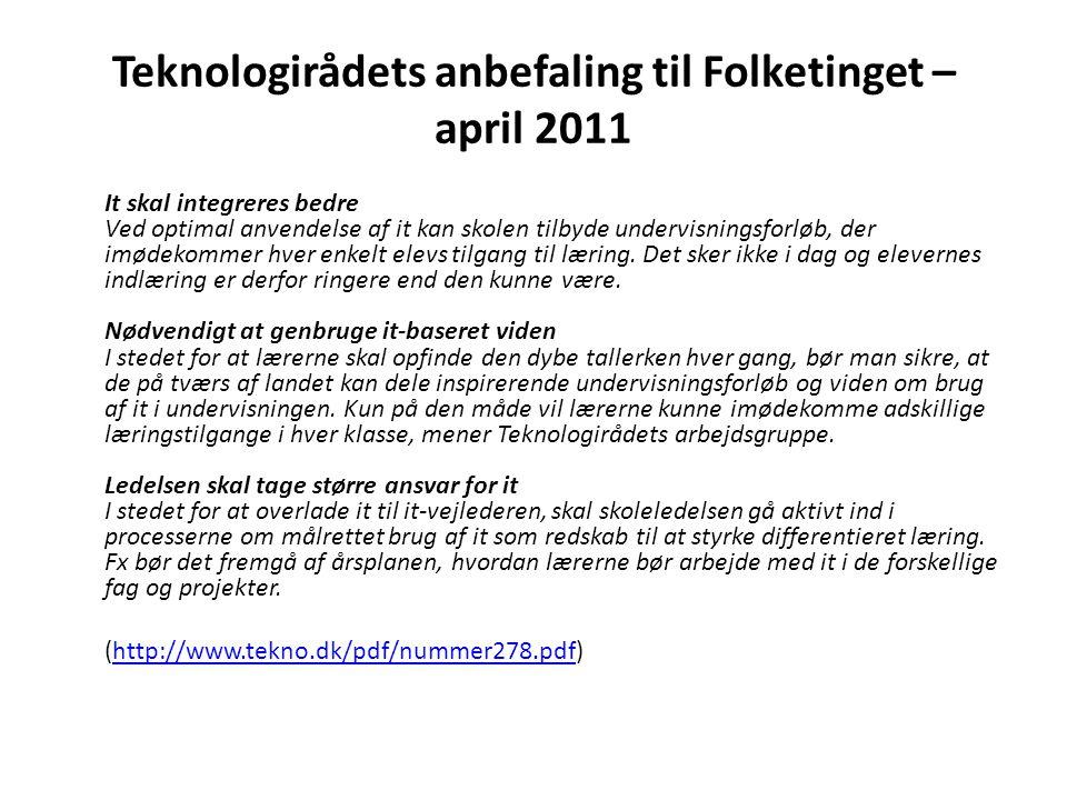 Teknologirådets anbefaling til Folketinget – april 2011