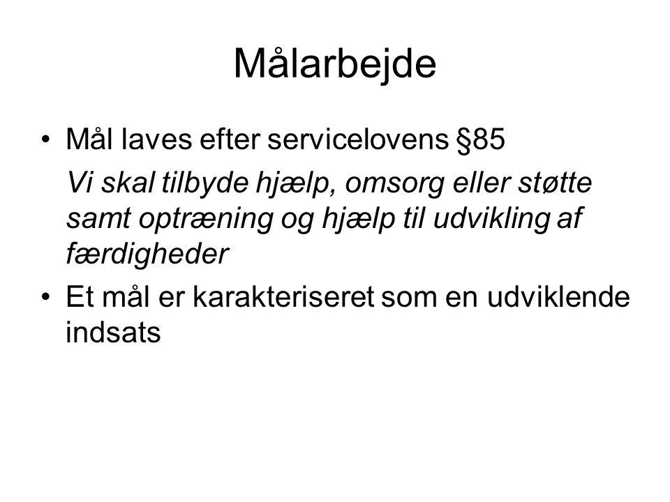 Målarbejde Mål laves efter servicelovens §85
