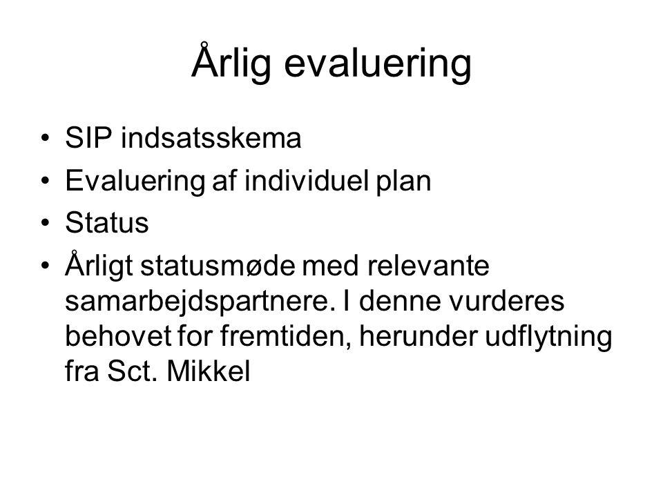 Årlig evaluering SIP indsatsskema Evaluering af individuel plan Status