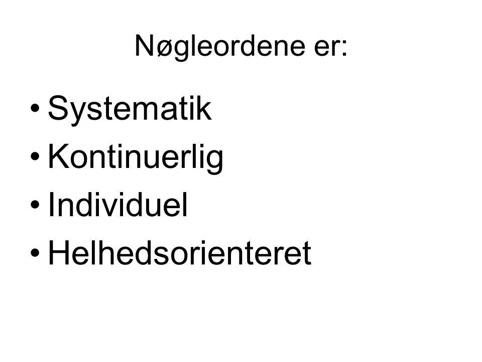 Nøgleordene er: Systematik Kontinuerlig Individuel Helhedsorienteret