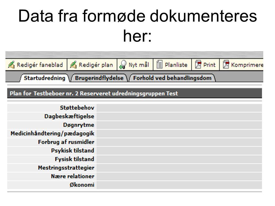 Data fra formøde dokumenteres her:
