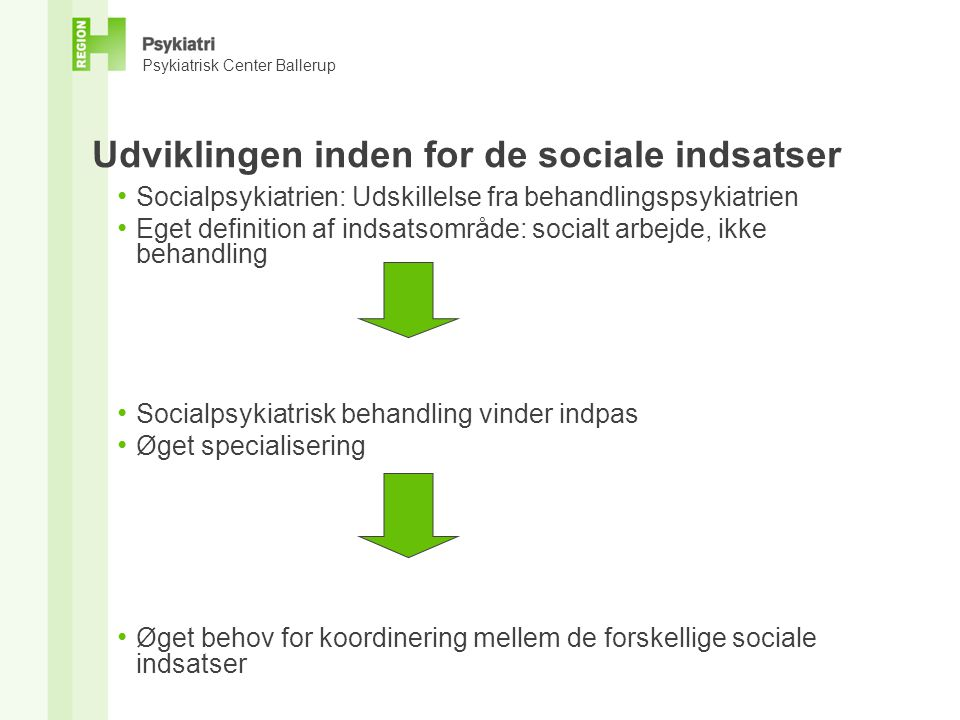 Udviklingen inden for de sociale indsatser