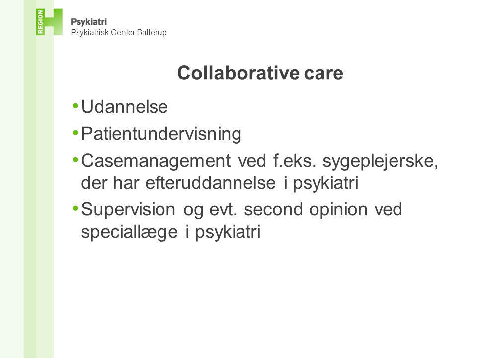 Collaborative care Udannelse Patientundervisning