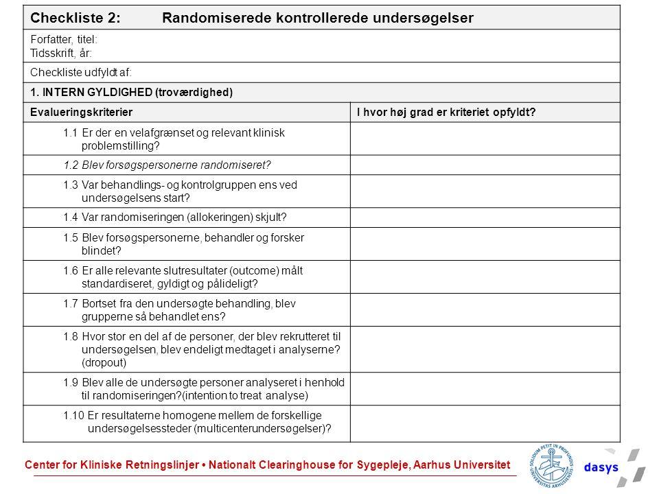 Checkliste 2: Randomiserede kontrollerede undersøgelser