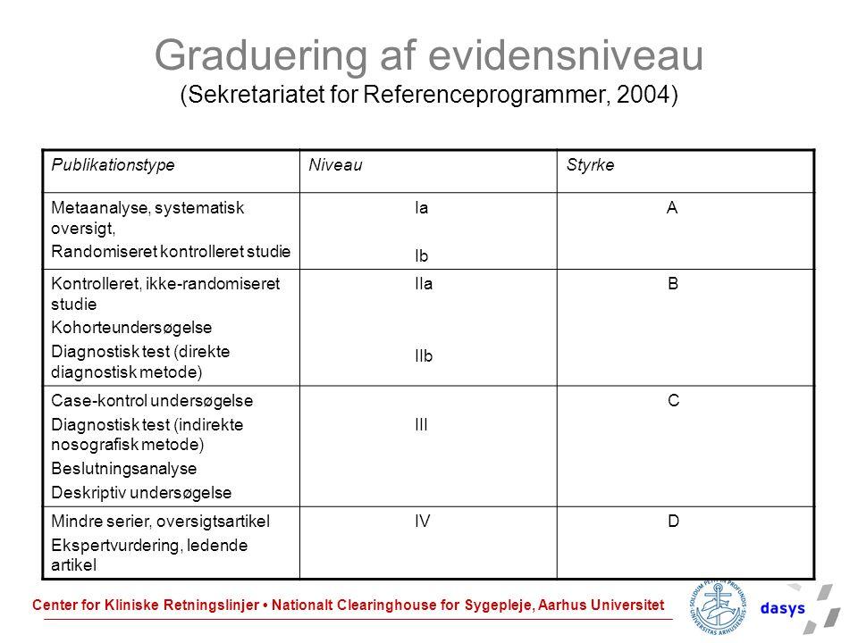 Graduering af evidensniveau (Sekretariatet for Referenceprogrammer, 2004)