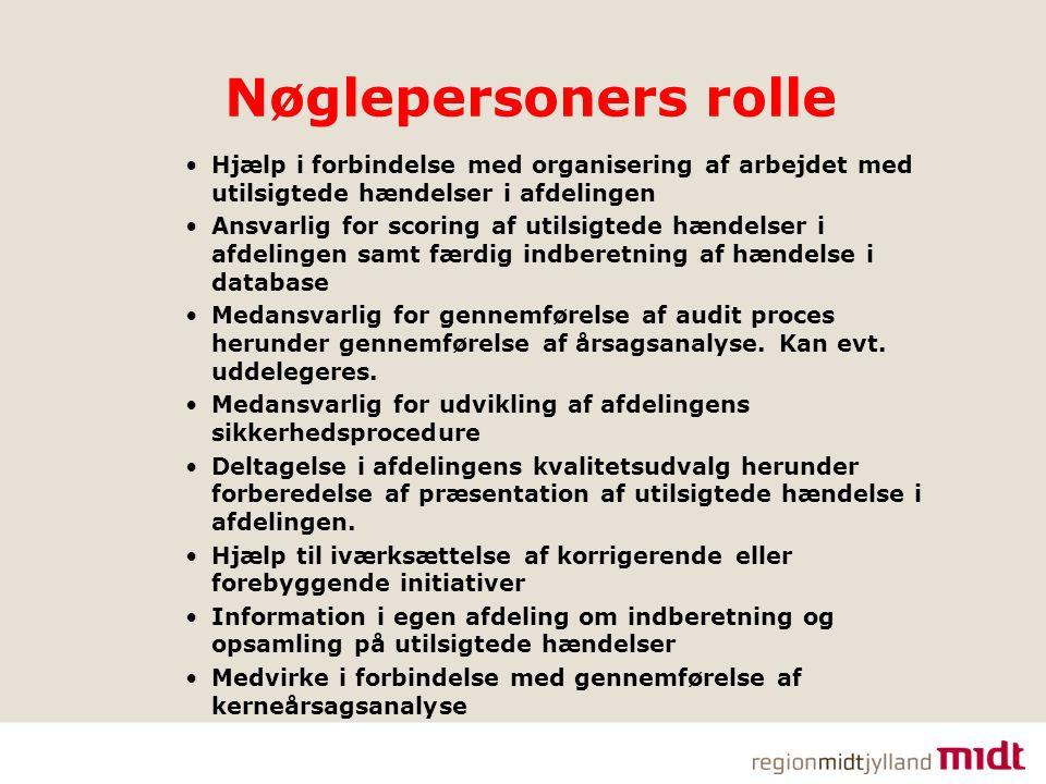 Nøglepersoners rolle Hjælp i forbindelse med organisering af arbejdet med utilsigtede hændelser i afdelingen.