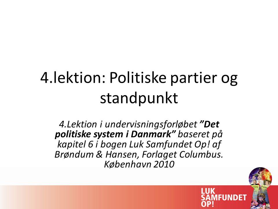 4.lektion: Politiske partier og standpunkt