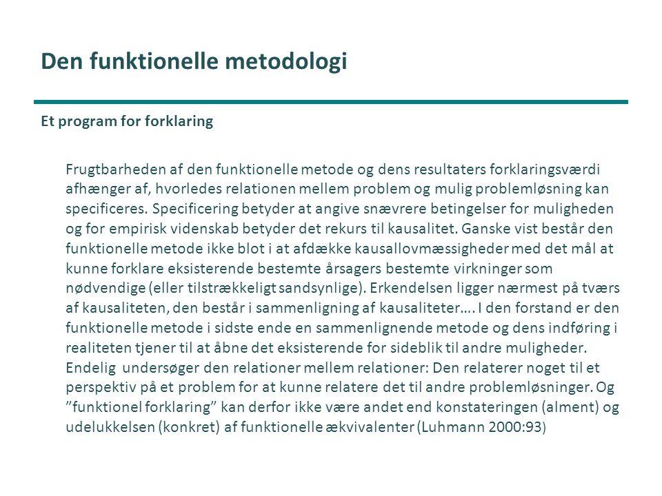 Den funktionelle metodologi