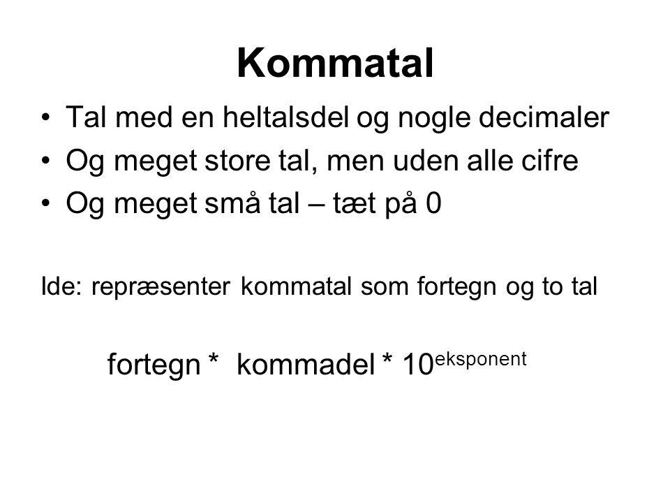 Kommatal Tal med en heltalsdel og nogle decimaler