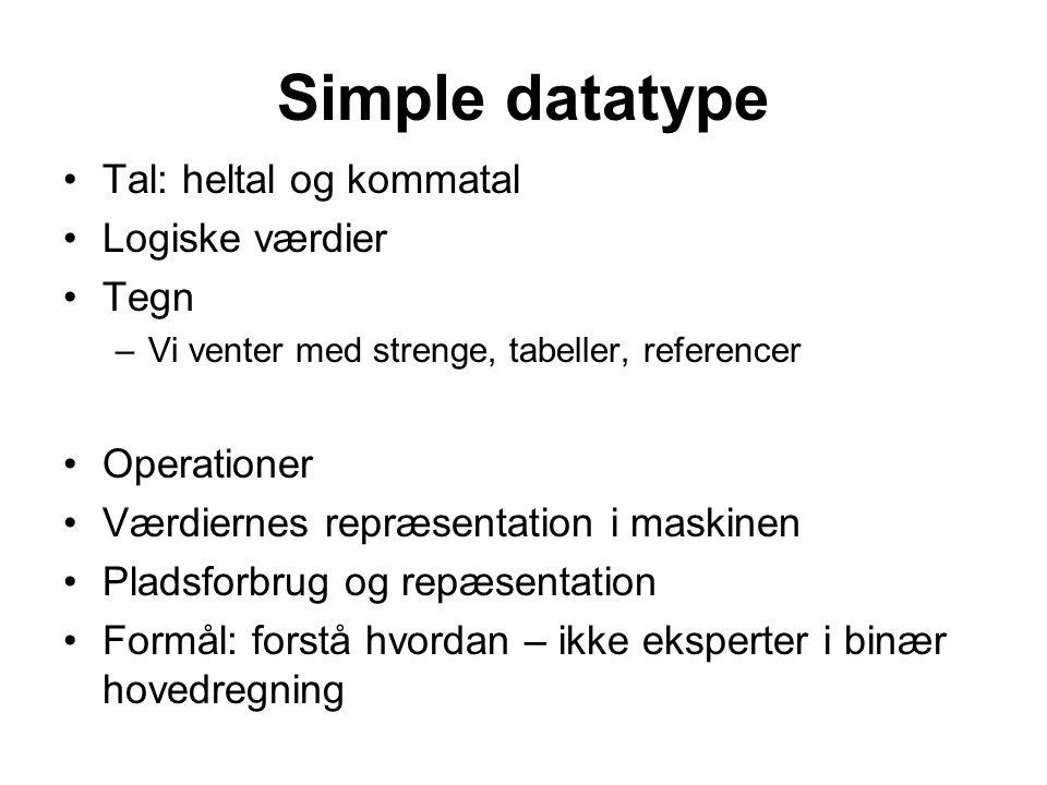 Simple datatype Tal: heltal og kommatal Logiske værdier Tegn