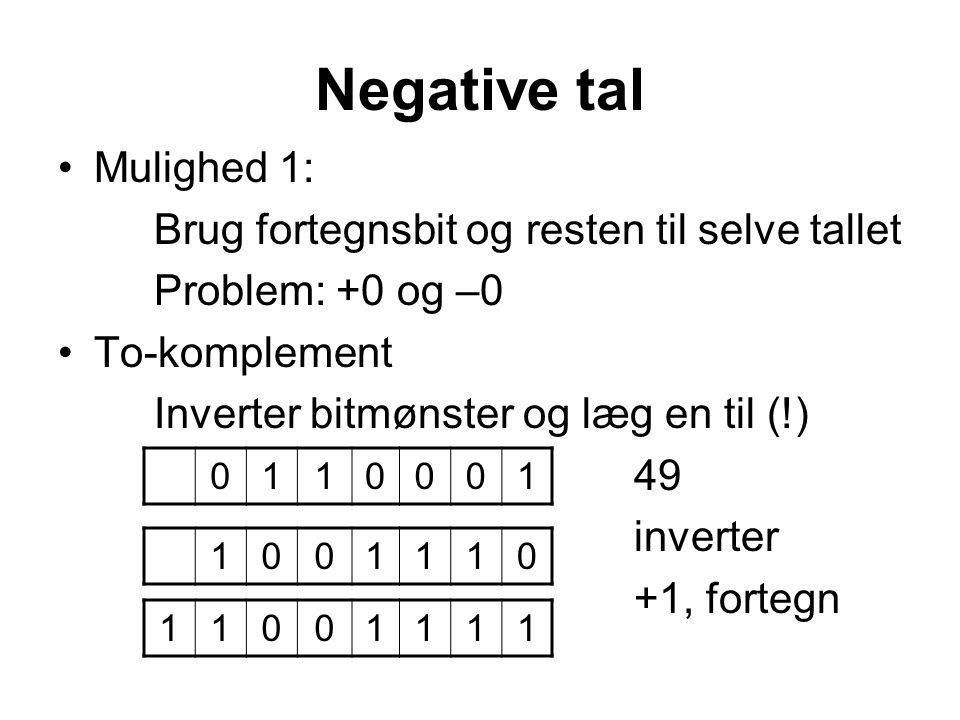 Negative tal Mulighed 1: Brug fortegnsbit og resten til selve tallet