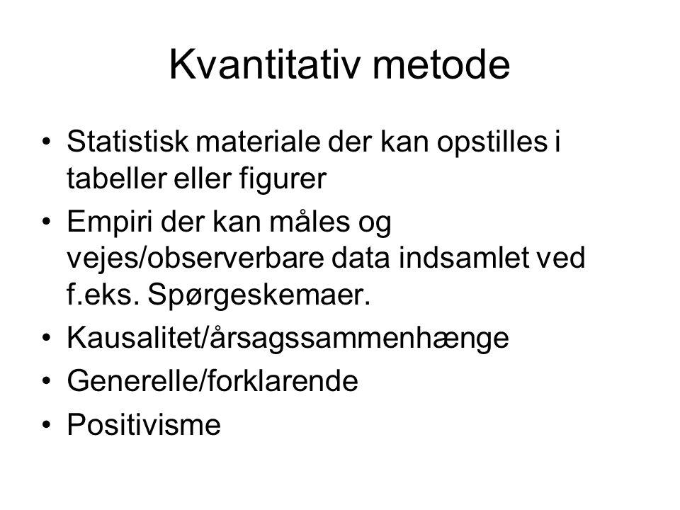 Kvantitativ metode Statistisk materiale der kan opstilles i tabeller eller figurer.