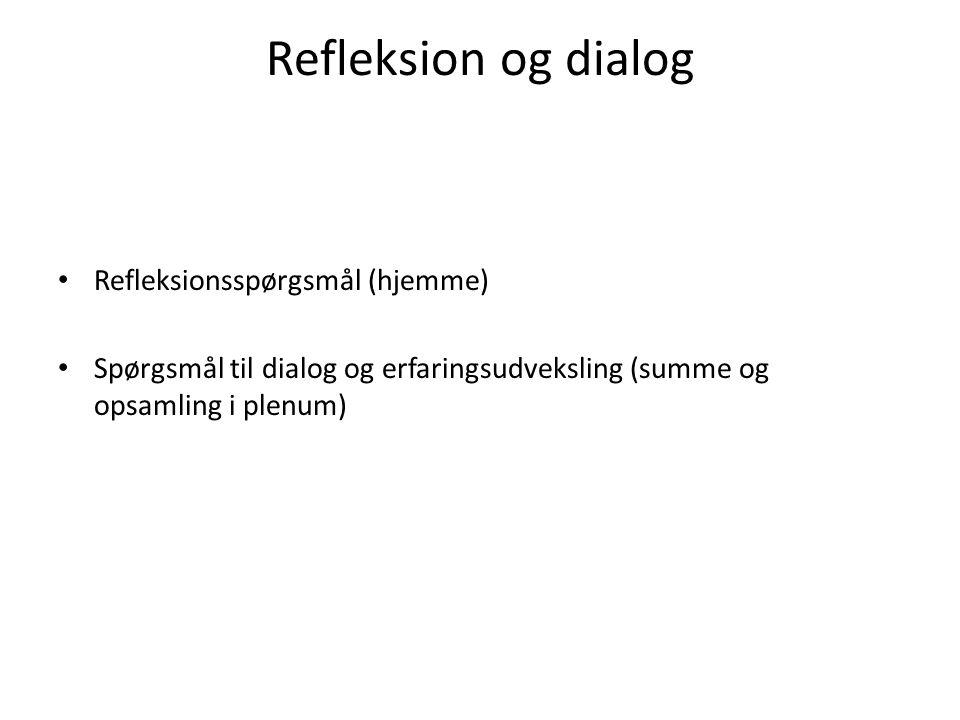 Refleksion og dialog Refleksionsspørgsmål (hjemme)