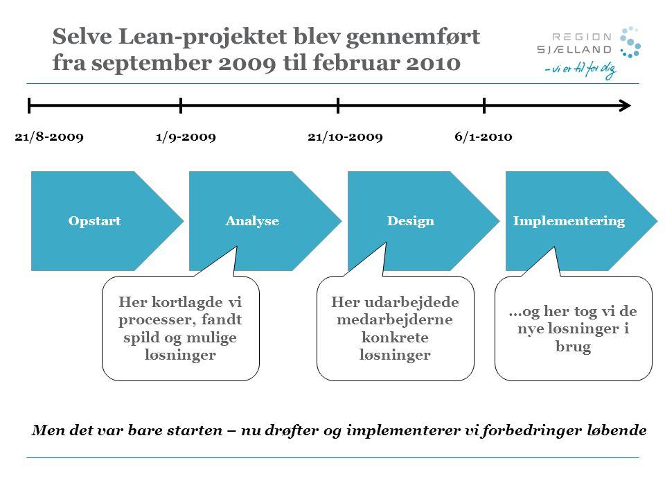 Selve Lean-projektet blev gennemført fra september 2009 til februar 2010