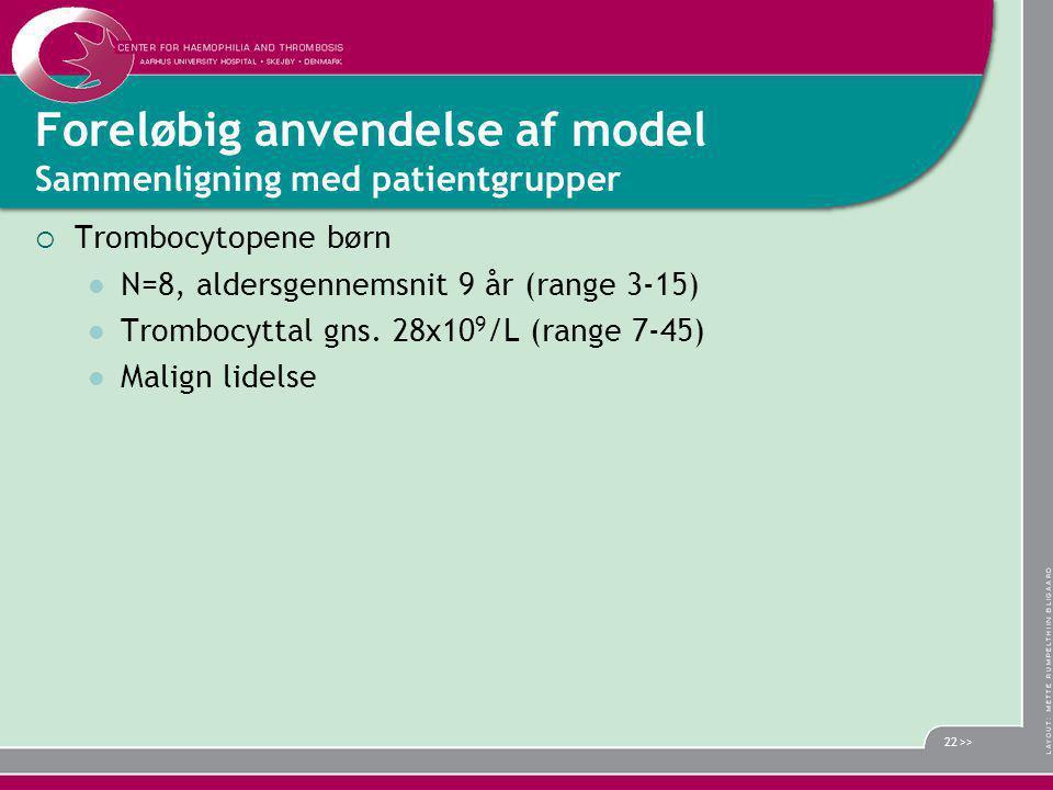 Foreløbig anvendelse af model Sammenligning med patientgrupper