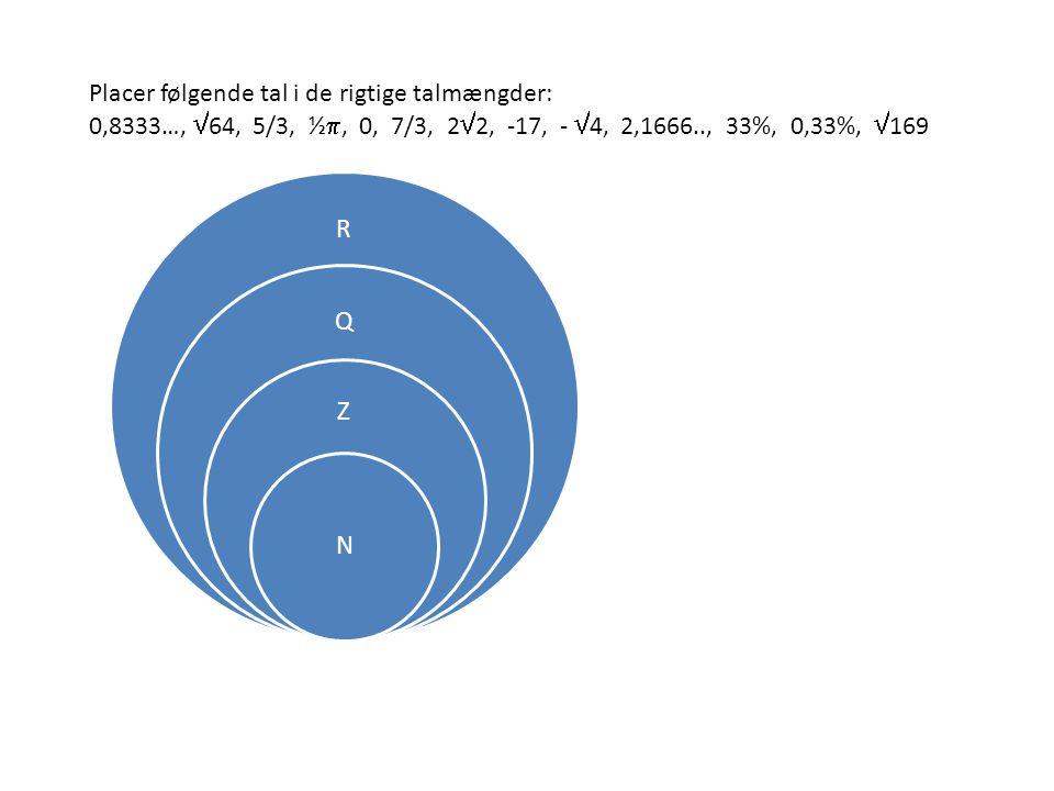 R Q Z N Placer følgende tal i de rigtige talmængder: