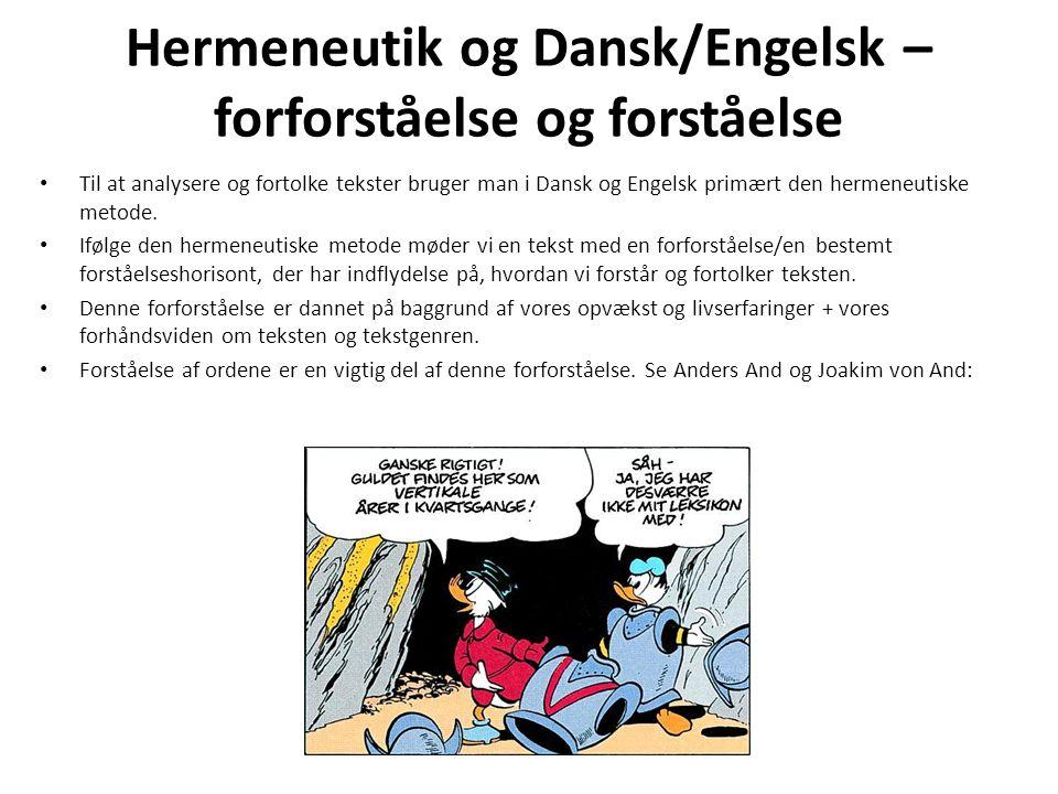 Hermeneutik og Dansk/Engelsk – forforståelse og forståelse