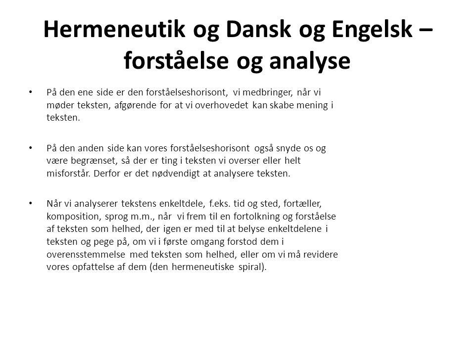 Hermeneutik og Dansk og Engelsk – forståelse og analyse