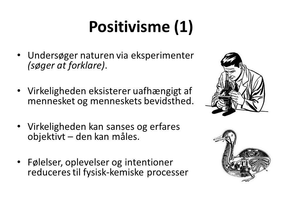 Positivisme (1) Undersøger naturen via eksperimenter (søger at forklare). Virkeligheden eksisterer uafhængigt af mennesket og menneskets bevidsthed.