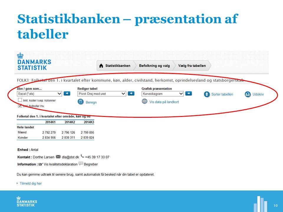 Statistikbanken – præsentation af tabeller