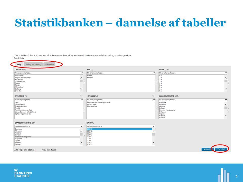 Statistikbanken – dannelse af tabeller