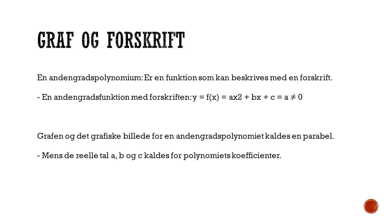 Graf og forskrift En andengradspolynomium: Er en funktion som kan beskrives med en forskrift.