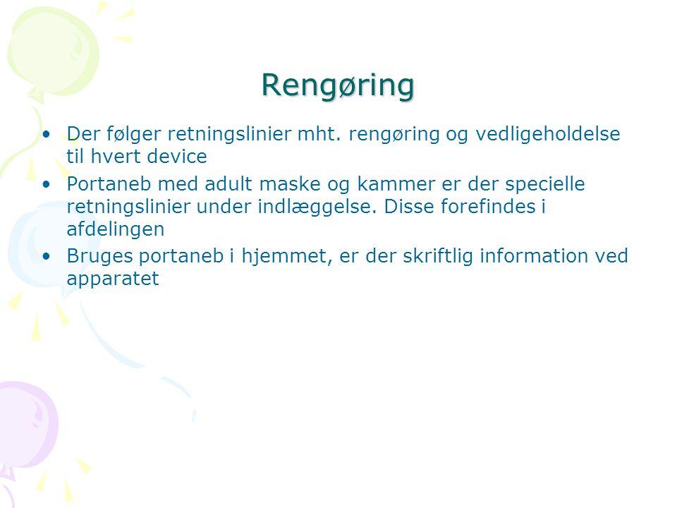 Rengøring Der følger retningslinier mht. rengøring og vedligeholdelse til hvert device.