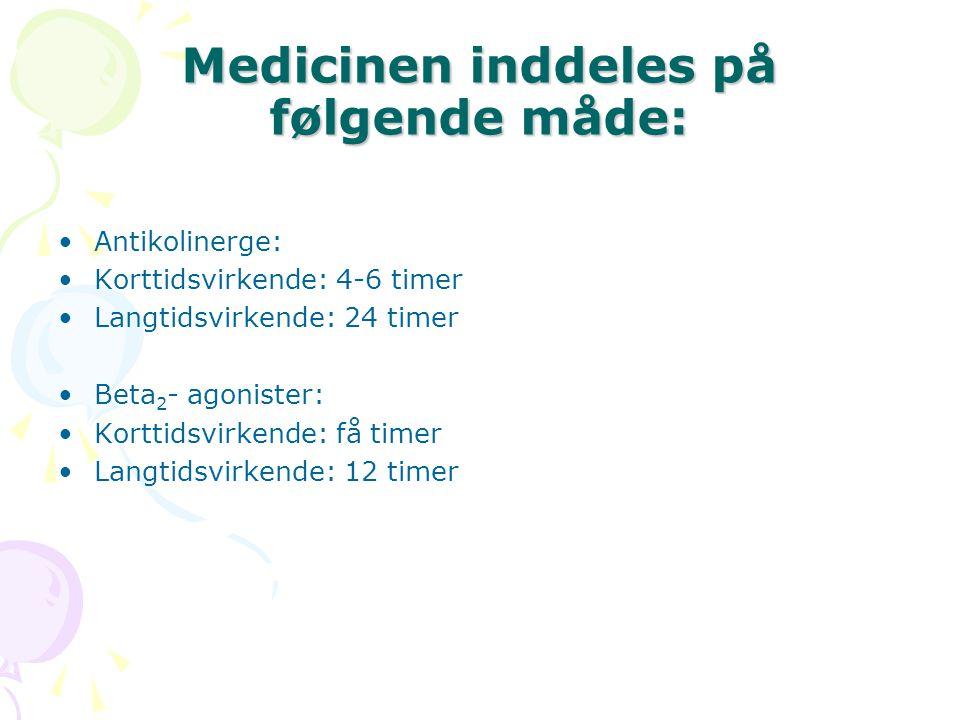 Medicinen inddeles på følgende måde: