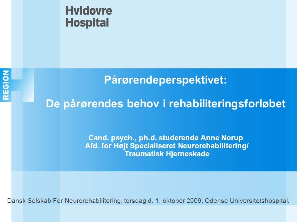 Pårørendeperspektivet: De pårørendes behov i rehabiliteringsforløbet Cand. psych., ph.d. studerende Anne Norup Afd. for Højt Specialiseret Neurorehabilitering/ Traumatisk Hjerneskade