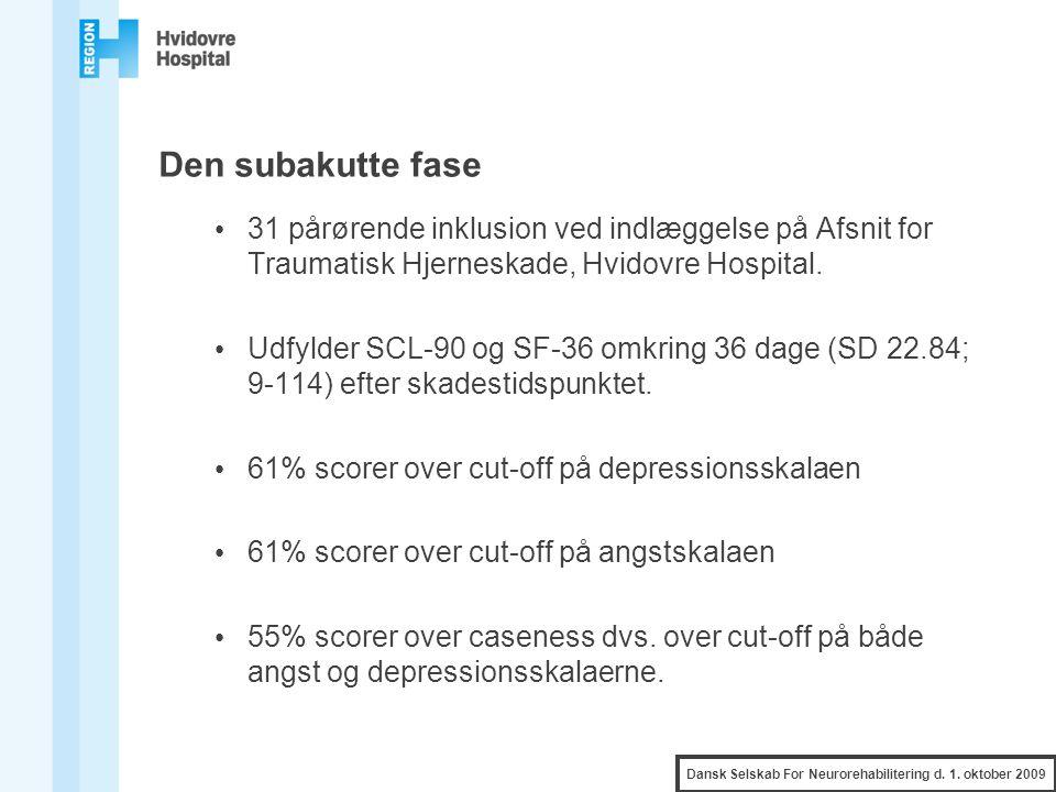 Den subakutte fase 31 pårørende inklusion ved indlæggelse på Afsnit for Traumatisk Hjerneskade, Hvidovre Hospital.