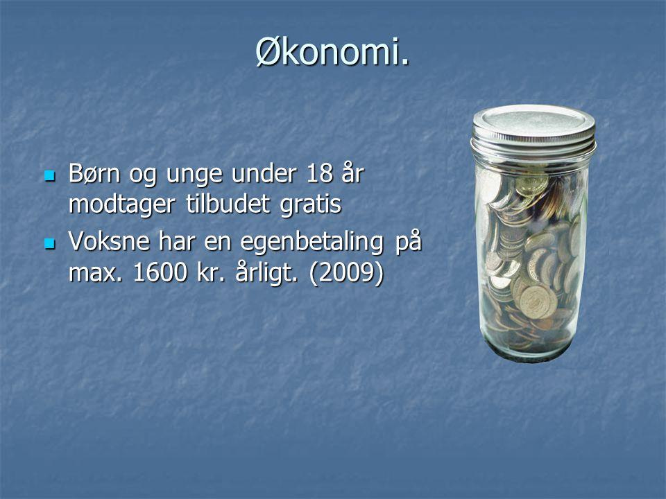 Økonomi. Børn og unge under 18 år modtager tilbudet gratis