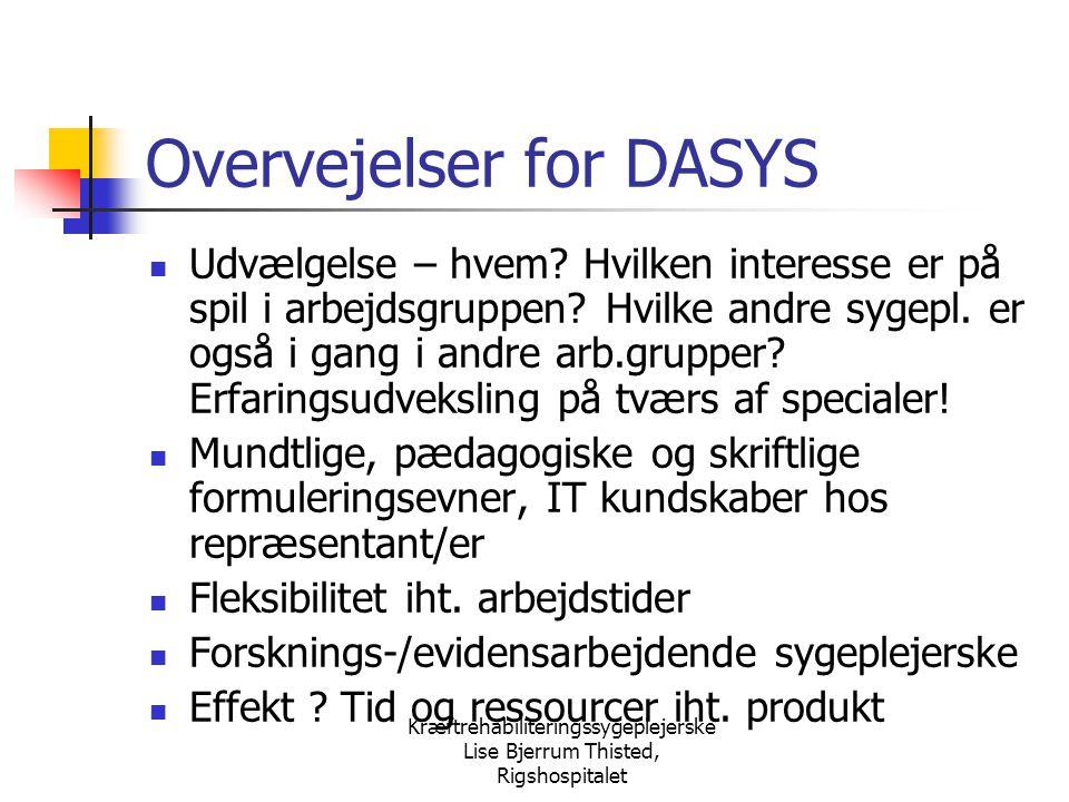 Overvejelser for DASYS