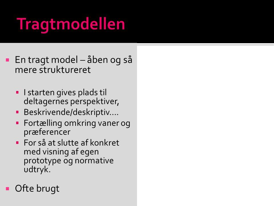 Tragtmodellen En tragt model – åben og så mere struktureret Ofte brugt