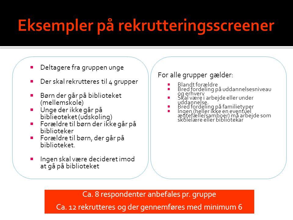Eksempler på rekrutteringsscreener