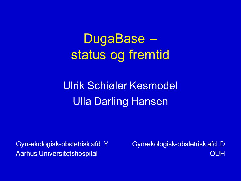 DugaBase – status og fremtid